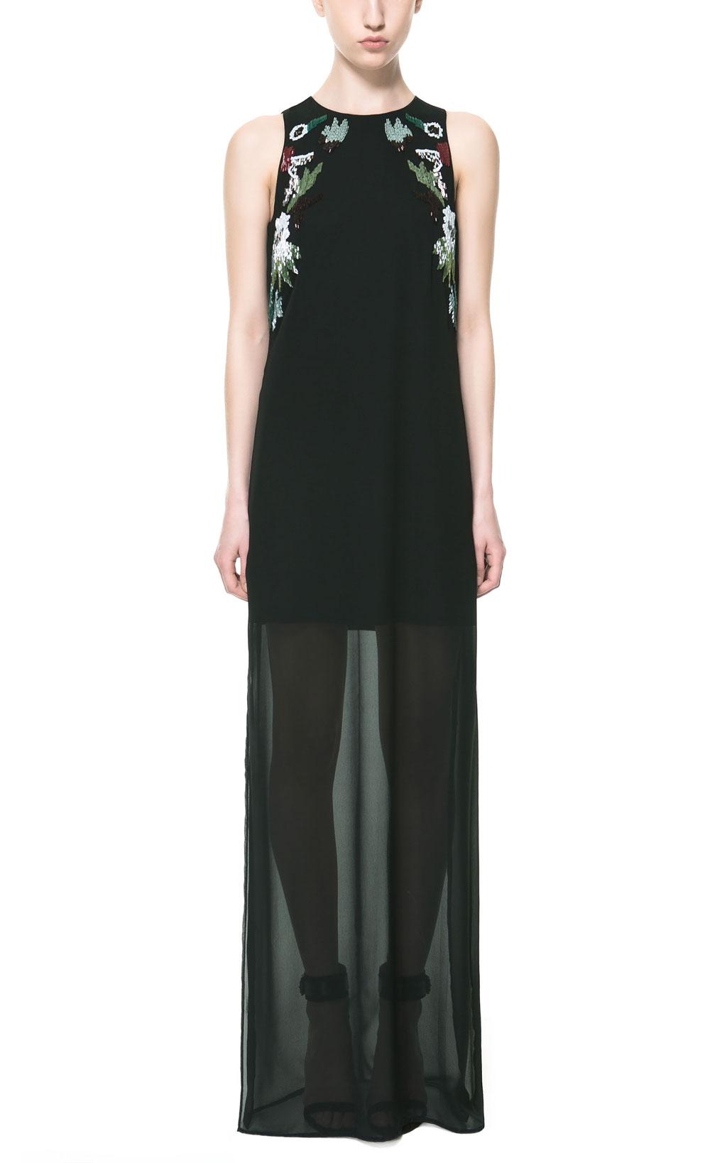 Zara Kleid lang schwarz