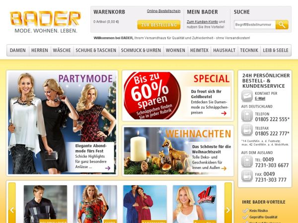 versandhaus bader versand online shop. Black Bedroom Furniture Sets. Home Design Ideas